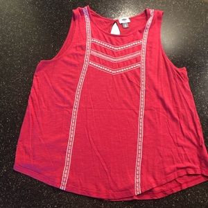 Pink embroidered tank